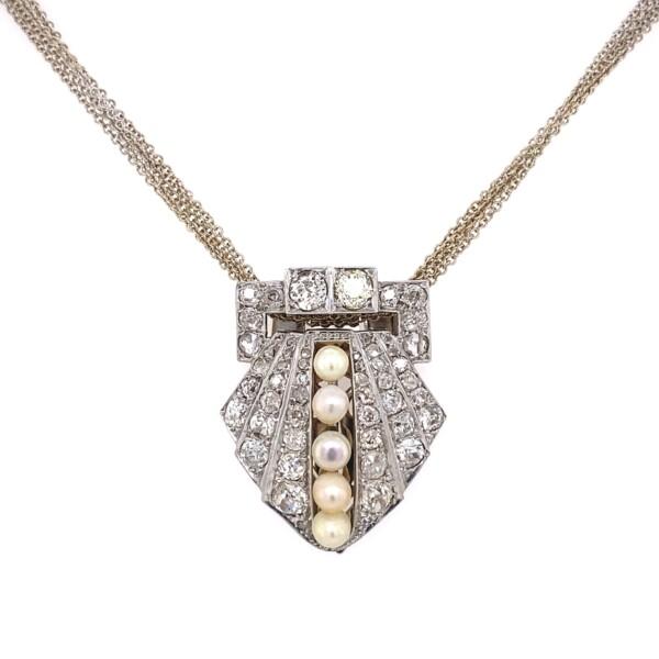 "Closeup photo of Art Deco Clip Pendant 3.60tcw Diamond & Pearls on 5 chain 18"""