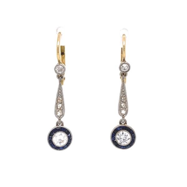"Closeup photo of Edwardian Drop Earrings with .67tcw Diamonds & French Cut Sapphires, 1.25"""