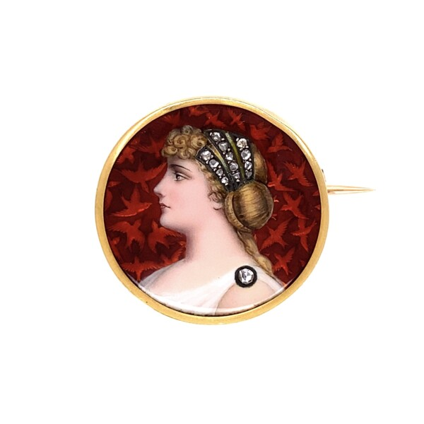 """Closeup photo of Swiss Hand Painted Portrait Brooch in 18K YG with Diamonds 7.6g, 1"""""""