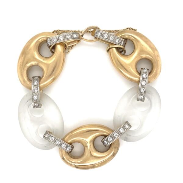Closeup photo of 18K RG Link & Rock Crystal Bracelet 1.50tcw 77.0g, 7.5in
