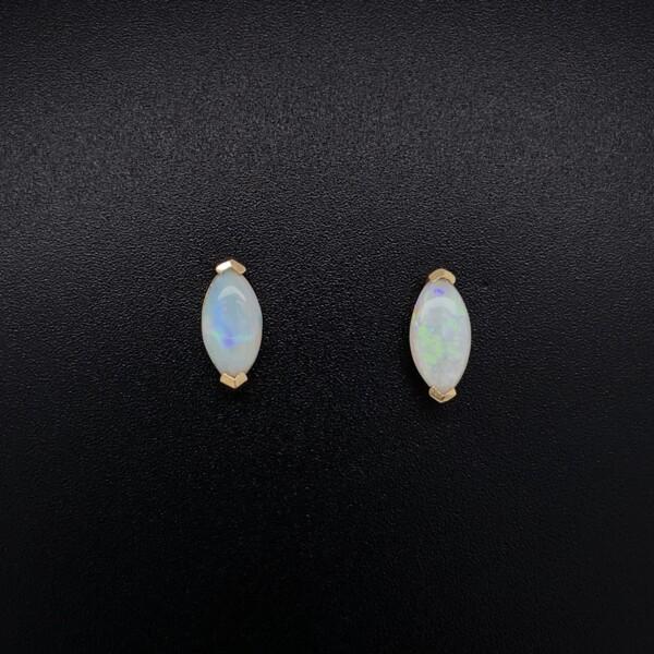 Closeup photo of 14K YG Marquis White Opal Stud Earrings 1.2g