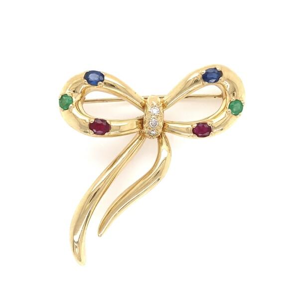 Closeup photo of Tutti Fruiti Ribbon Brooch Diamonds, Emeralds, Rubies, Sapphires 10.2g