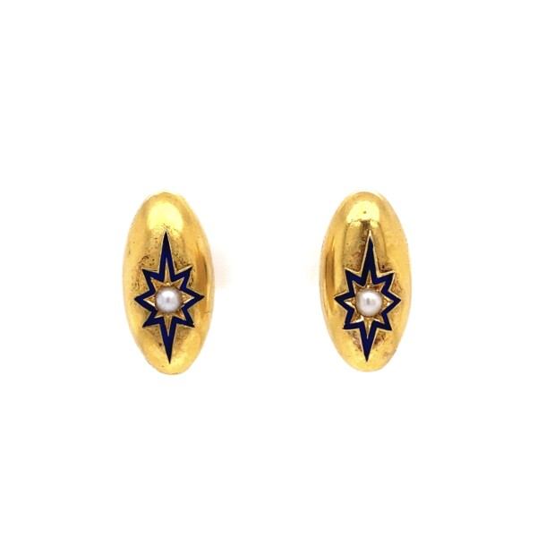 Closeup photo of Victorian Dome Star Seed Pearl Earrings 3.3g in 9K YG