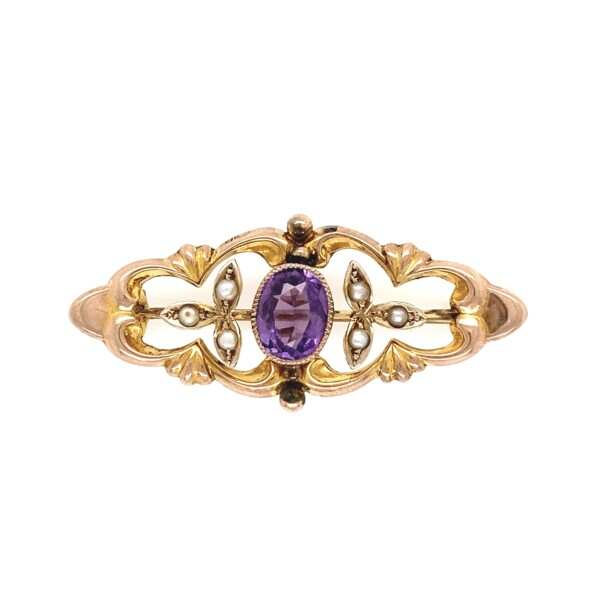 Closeup photo of Art Nouveau Amethyst & Pearl Brooch Pin in 9K Rose & Yellow 2.4g