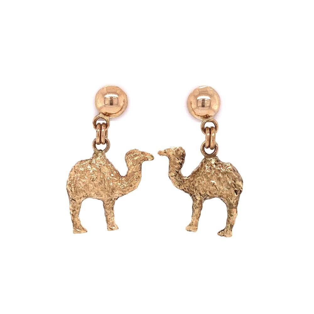 """14K YG Camel Dangle Earrings 8.0g, 1.15"""" Tall"""