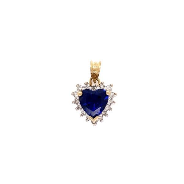 Closeup photo of 14K & 10K YG Blue Gemstone Heart & .23tcw Diamond Pendant