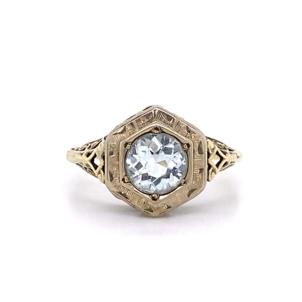 Closeup photo of Art Deco Filigree Ring with 1ct White Zircon in 14K YG 2.6, s6.75