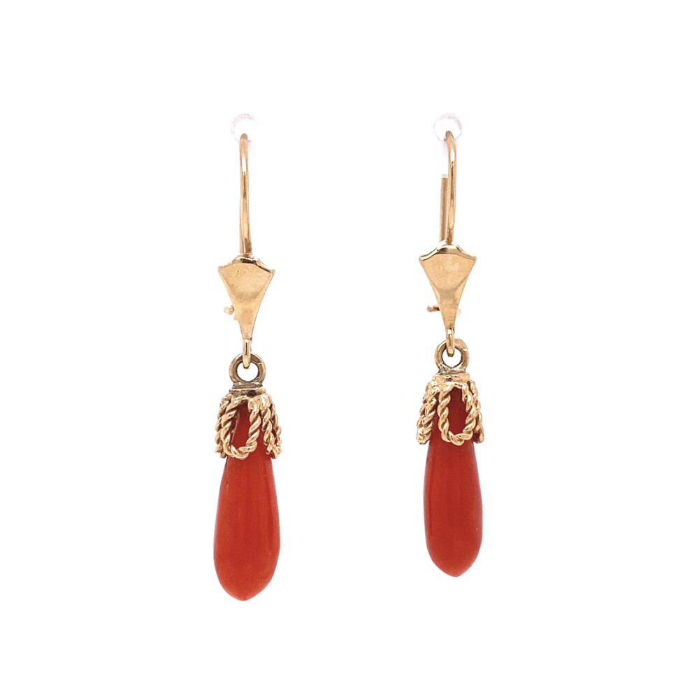 """14K YG Red Coral Briolette Drop Earrings 3.2g on Wire 1.5"""""""