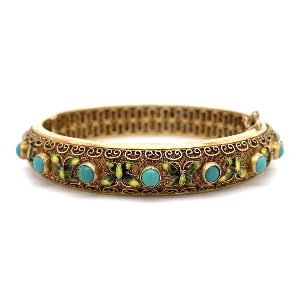 925 Sterling Enamel Butterflies & Turquoise Bangle 34.4g, w/safety