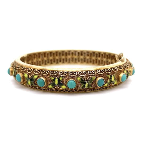 Closeup photo of 925 Sterling Enamel Butterflies & Turquoise Bangle 34.4g, w/safety