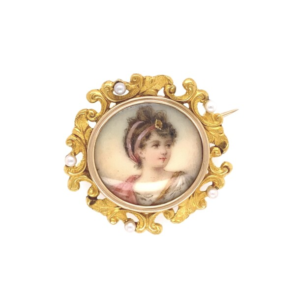 Closeup photo of 18K Victorian Hand Painted Portrait Brooch Seed Pearls 8.4g
