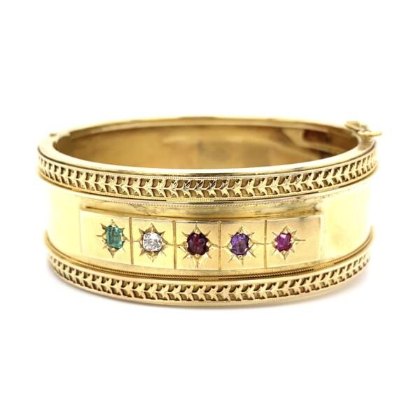 Closeup photo of 18K Victorian 23mm Wide Cuff Emerald, Diamond & Gemstones 34.4g,