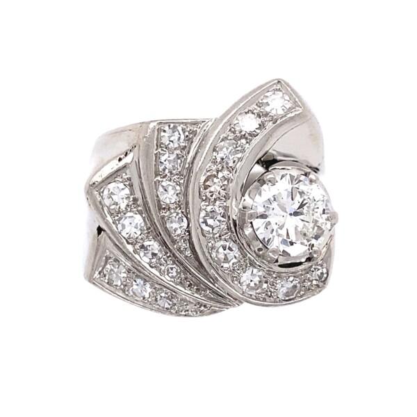Closeup photo of Retro Platinum Wave 1.38tcw Diamond Ring 11.5g, s7.25