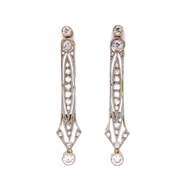 Closeup photo of Edwardian Platinum on 18K 1.50tcw Diamond Drop Earrings