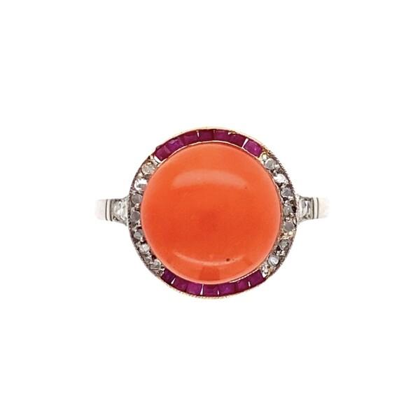Closeup photo of Platinum & 18K Art Deco Coral, Ruby & Diamond Ring , s6.75
