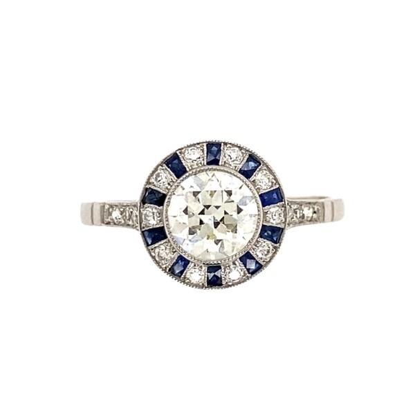 Closeup photo of Platinum Art Deco .71tcw Diamond & Sapphire Halo Ring, s7.5
