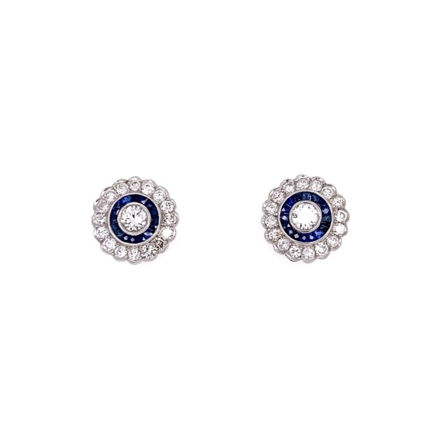 Closeup photo of Platinum Diamond & Sapphire Halo Earrings Post & Friction