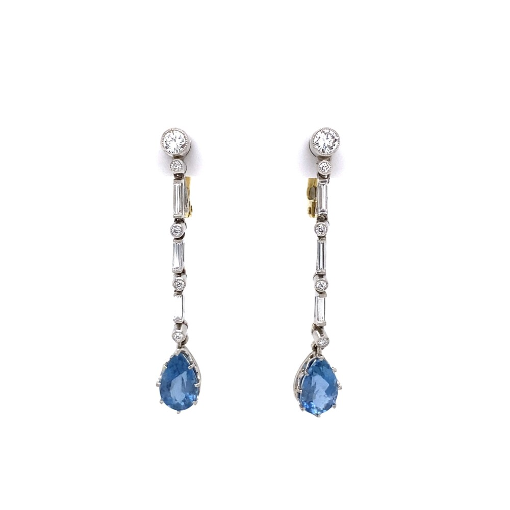 Platinum Santa Maria Aquamarine & Diamond Drop Earrings