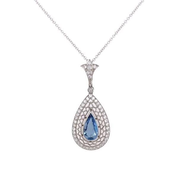 "Closeup photo of Platinum 1.50ct Pear Aquamarine & Lacey .75tcw Diamond Necklace, 16"""