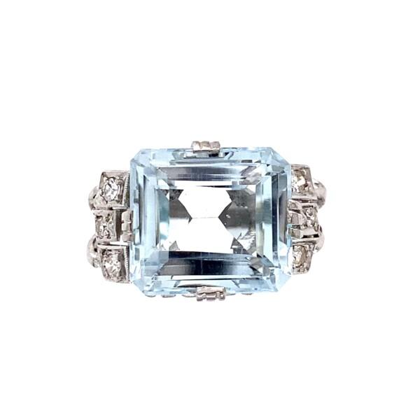 Closeup photo of Platinum Retro 12ct Aquamarine & .18tcw Diamond Ring 6.8g, s7.5