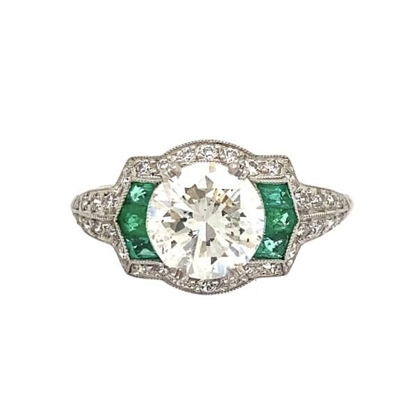 Closeup photo of Platinum Art Deco 1.53ct Diamond & Emerald Engraved Ring, s7