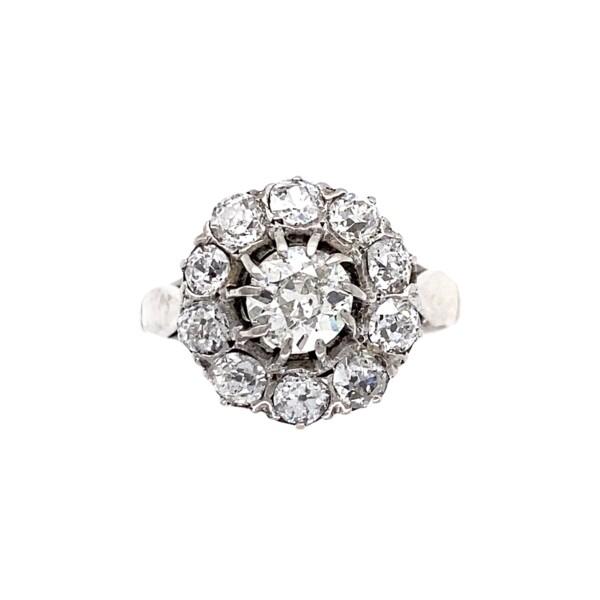 Closeup photo of 18K WG Art Deco 1.47tcw Diamond Cluster Ring, s5.75