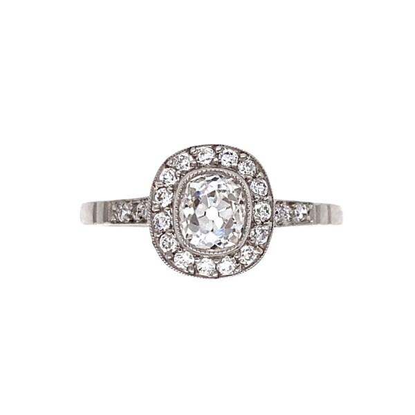 Closeup photo of Platinum Art Deco .99tcw Old Mine Diamond Ring, s7.5
