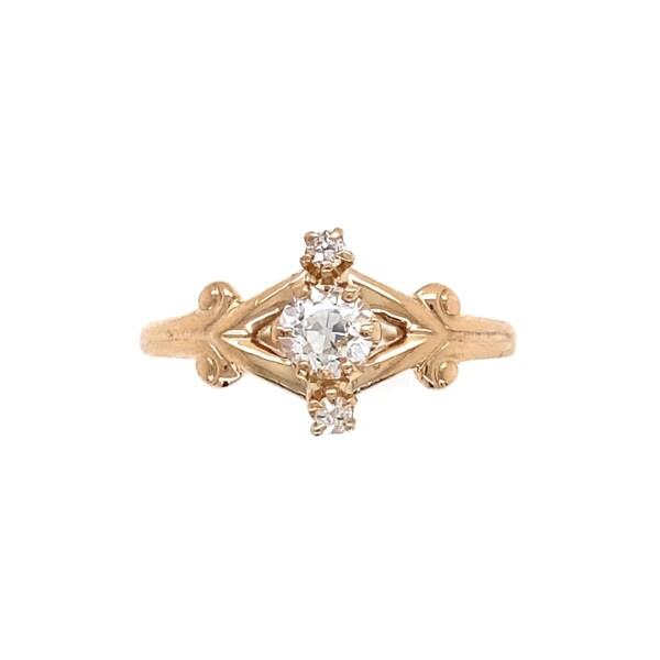 Closeup photo of 9K YG Victorian .37tcw Diamond Scroll Ring 1.5g, s7.5