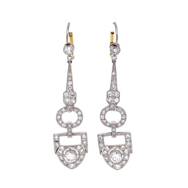 "Closeup photo of Platinum Chandelier 2.98tcw Diamond Art Deco Style Drop Earrings, 2.25"" Long"