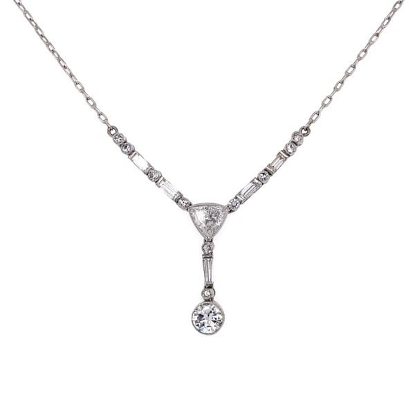 Closeup photo of Platinum 1.51tcw Diamond Drop Necklace