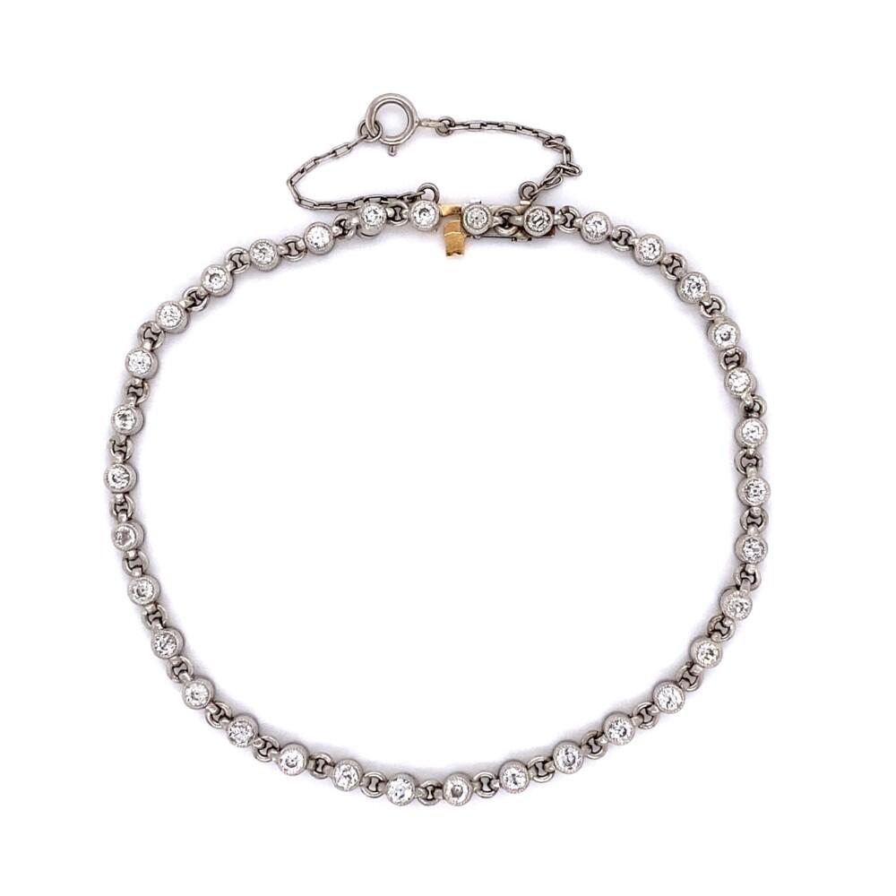 "Platinum Bezel Set 1.65tcw Diamond Link Bracelet 8.8g, 7"""