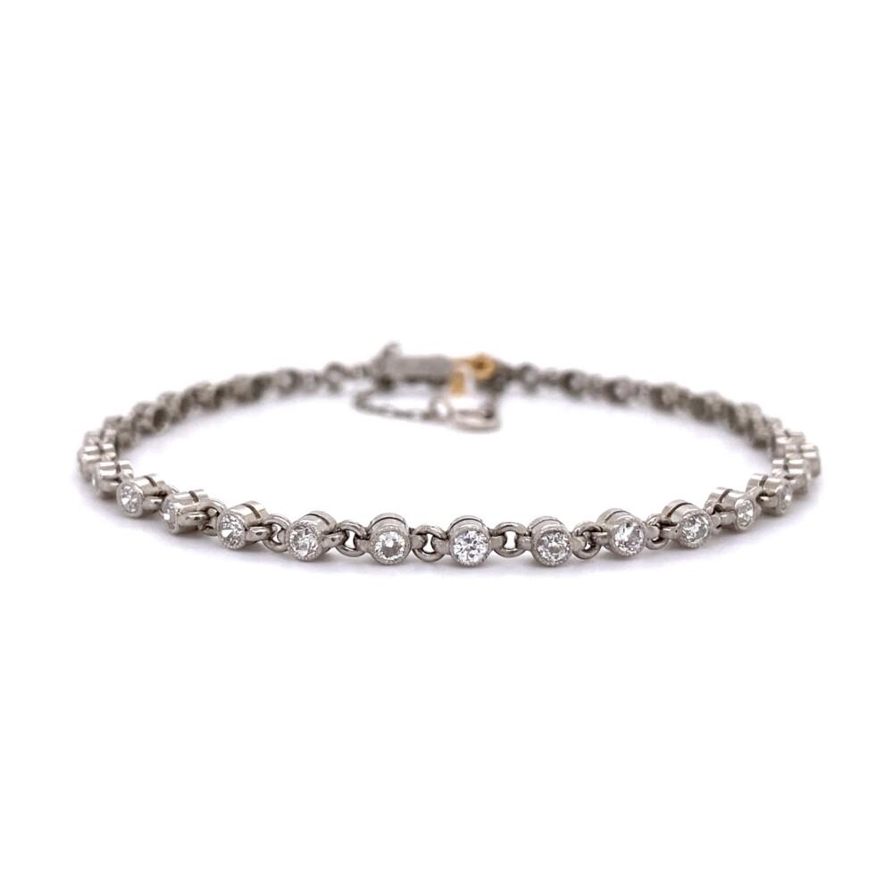 "Platinum Bezel Set 1.61tcw Diamond Link Bracelet 8.8g, 7"""