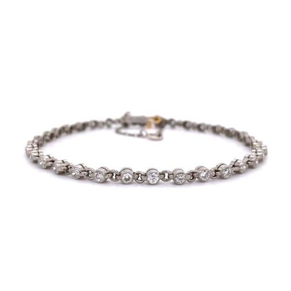 "Closeup photo of Platinum Bezel Set 1.61tcw Diamond Link Bracelet 8.8g, 7"""