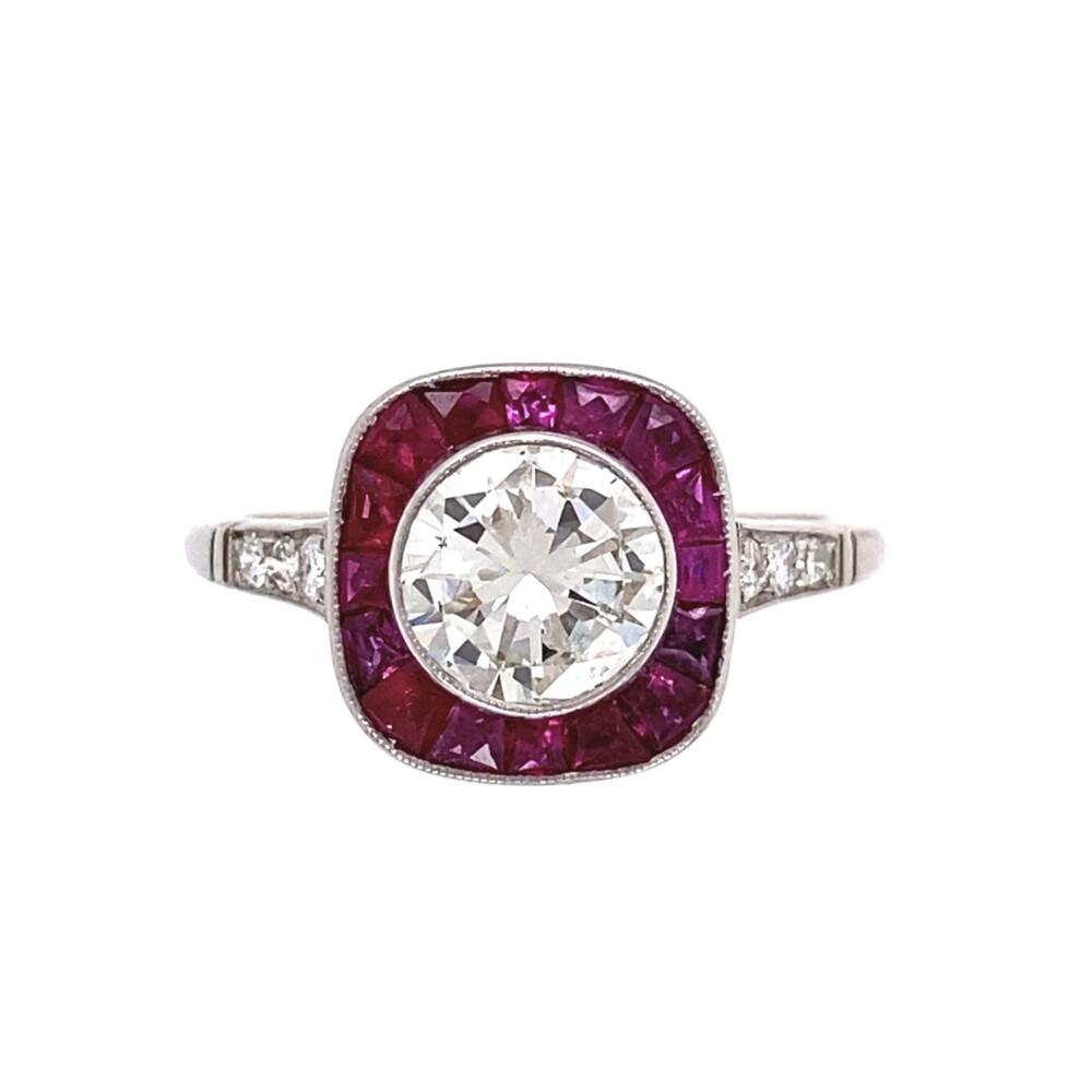 Platinum 1.12ct Round Diamond & 1.08tcw Ruby Halo Ring, s6.75