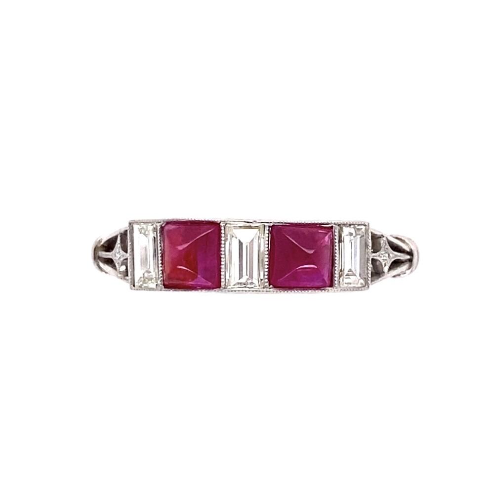 Platinum Sugarloaf Ruby & Baguette Diamond Band Ring 3.3g, s6.75