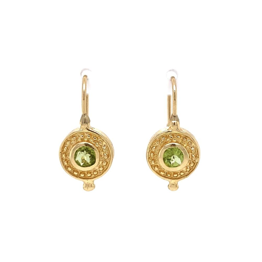 14K YG Etruscan 1.00tcw Peridot Earrings 3.4g