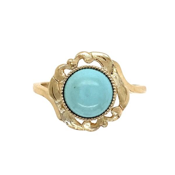 Closeup photo of 14K YG Victorian Persian Turquoise Bias Ring 3.5g, s10