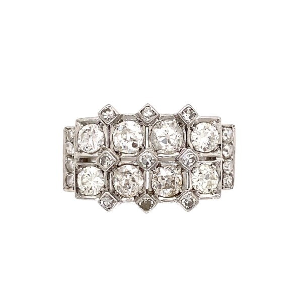 Closeup photo of Platinum 1.55tcw Diamond Angular Cluster Ring, s6