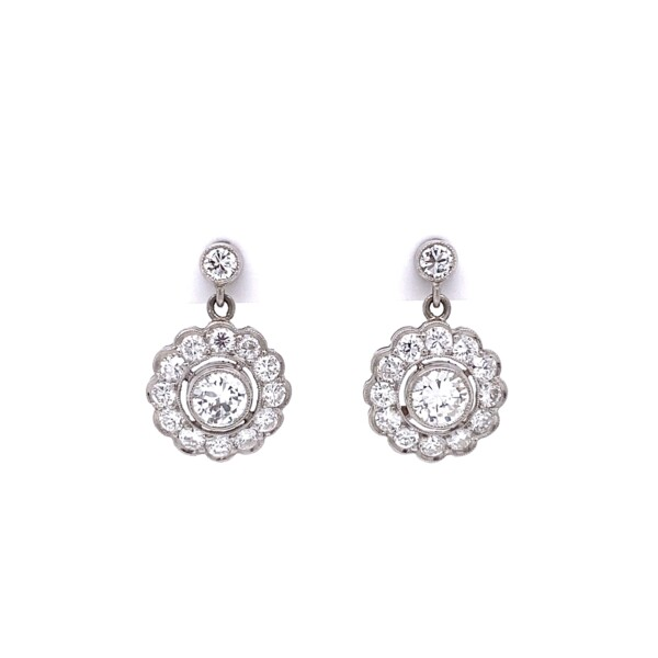 Closeup photo of Platinum Cluster 1.20tcw Diamond Halo Drop Earrings