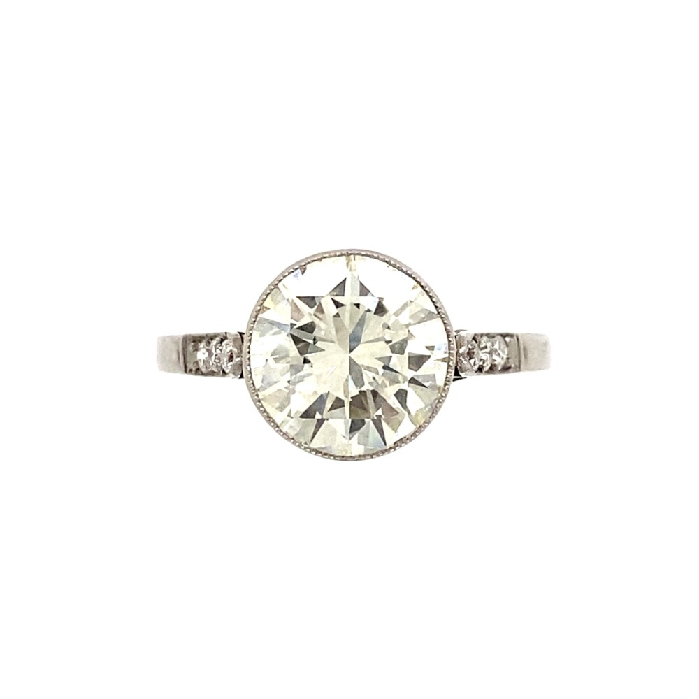 Platinum Transitional 2.01ct Diamond Engraved Ring, s7.5