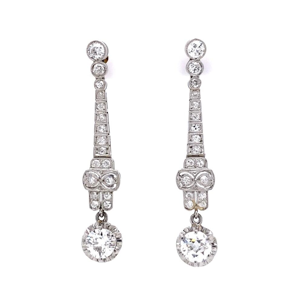 "Platinum Art Deco 2.19tcw Diamond Drop Filigree Earrings, 1.6"""