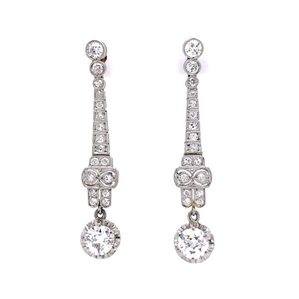 "Closeup photo of Platinum Art Deco 2.19tcw Diamond Drop Filigree Earrings, 1.6"""