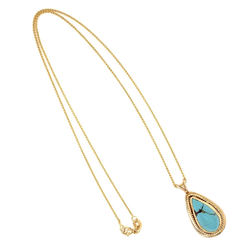 14K YG Pear Shape Turquoise Drop Pendant Necklace 7.2g, 18""