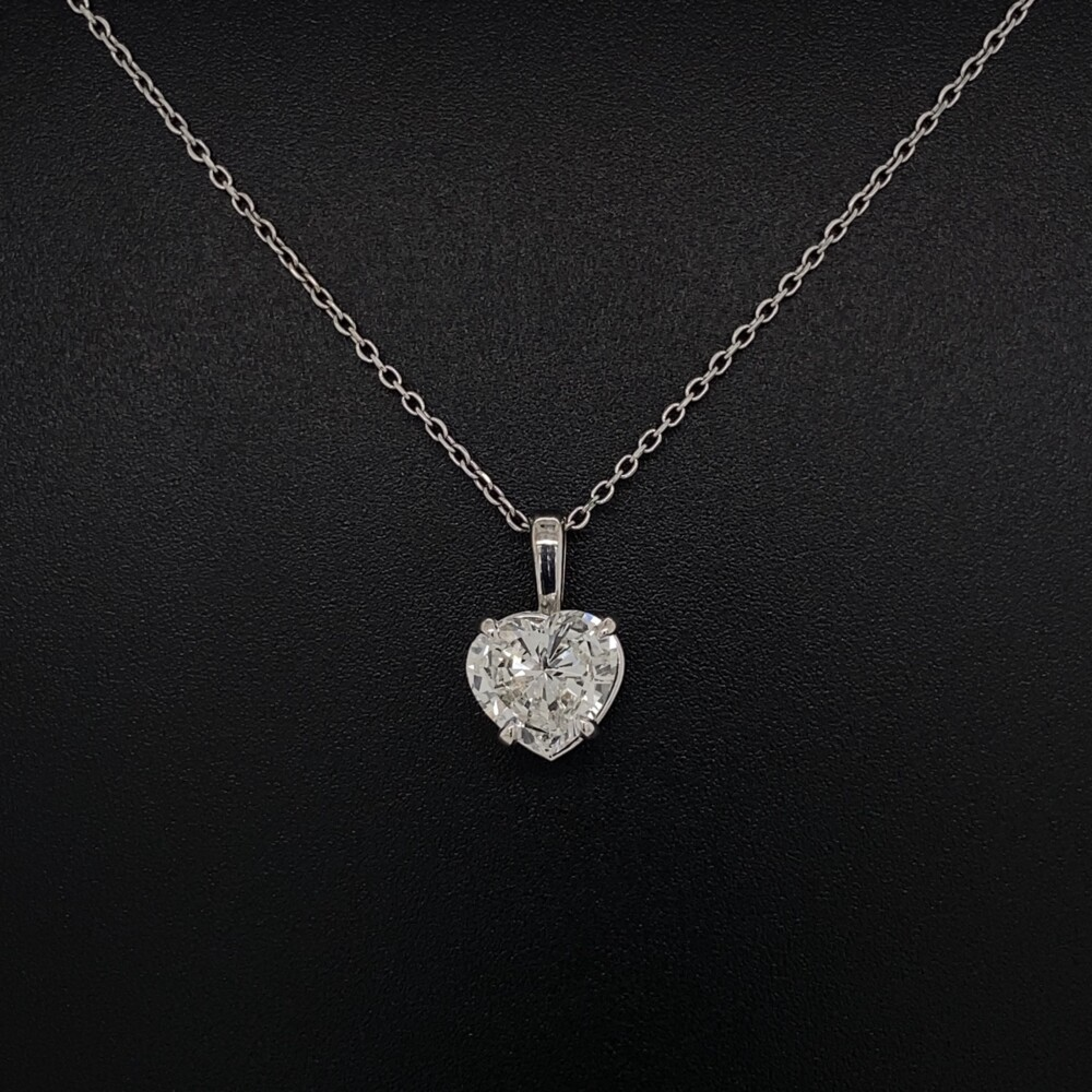 """1.26ct Heart Shape Diamond H-SI2 GIA in Solitaire 14K WG Pendant 2.1g, 16"""" Chain"""