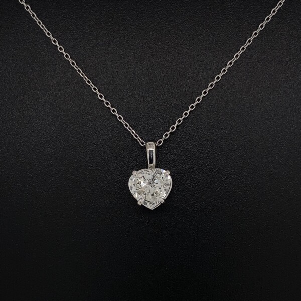 """Closeup photo of 1.26ct Heart Shape Diamond H-SI2 GIA in Solitaire 14K WG Pendant 2.1g, 16"""" Chain"""