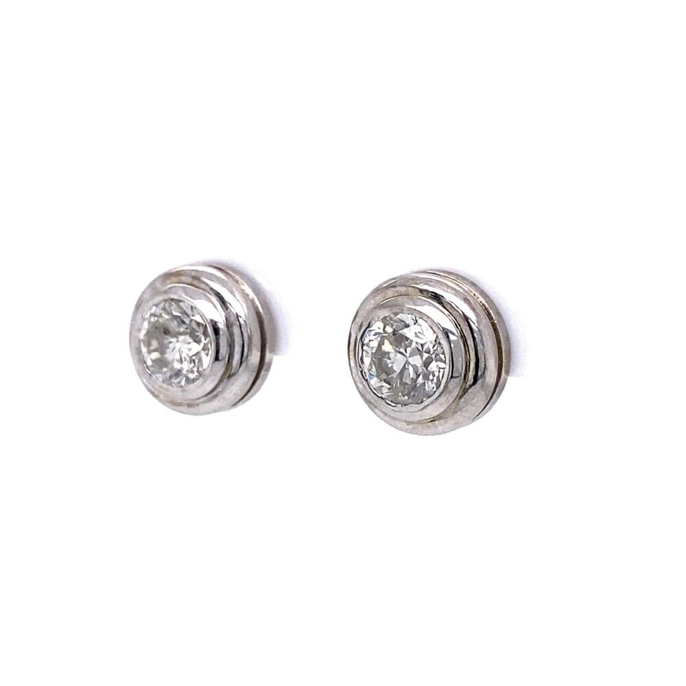 2.00tcw Round Brilliant Bezel Set Stud Earrings