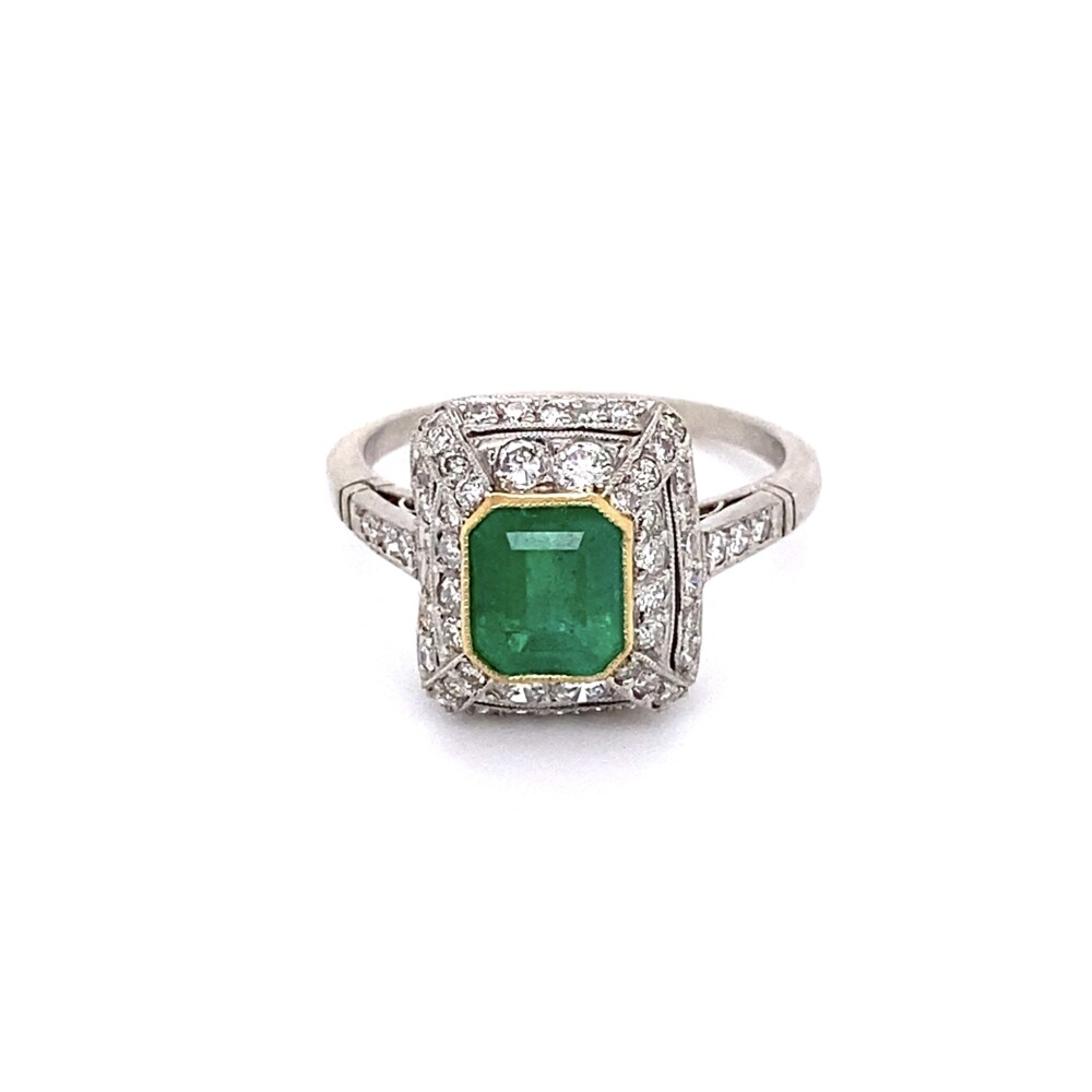 Platinum 1.05ct Emerald & 1.00tcw Diamond Ring, s7