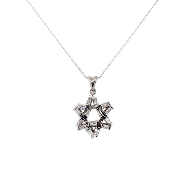 "Closeup photo of 6 Ray Star in Baguette Diamonds .70tcw in 14K WG, 16"""
