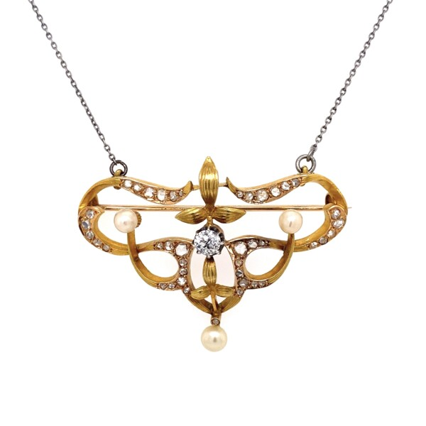 "Closeup photo of 20K YG Victorian 1.35tcw Diamond & Pearl Brooch Pendant 12.0g, 16"" Chain"