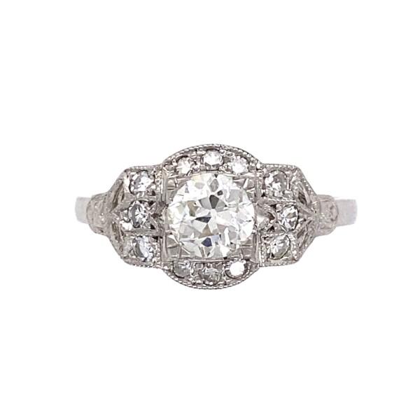 Closeup photo of Platinum Art Deco Filigree .80tcw Diamond Ring, s6.5